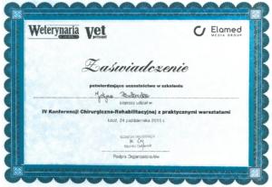 konferencja chirurgiczno-rehabilitacyjna - dyplom
